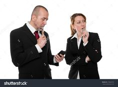 Business People With E-Cigarette And Smartphone In Front Of White Stock Photo 276844763 : Shutterstock