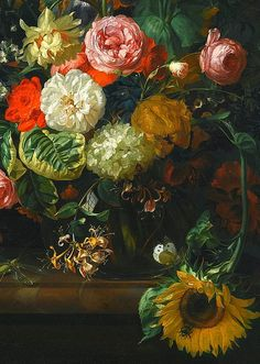 Rachel Ruysch, Still Life with Roses, Tulips and Sunflower, detail, 1710.  still life quick heart