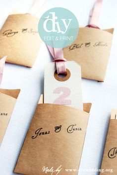do it yourself wedding escort card envelopes - an editable wedding template