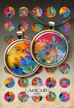 SUMMER PROMISES - Digital Collage Sheet 1 inch size and 1.5 inch size Circle Images Printable Download for pendants bottlecaps magnets