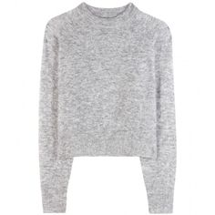 Wood Wood Carly Mohair and Wool-Blend Sweater (€165) ❤ liked on Polyvore featuring tops, sweaters, jumper, shirts, grey, grey jumper, gray jumper, mohair sweater, gray sweater and jumper shirt