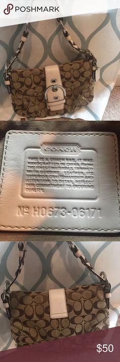 Coach Purse/Handbag Authentic Coach Purse/Handbag. Excellent Condition. Trimmed with genuine leather Coach Bags Shoulder Bags