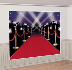 """Perfect Red Carpet Backdrop for that DIY Photo Booth! Click through to our blog post: """"How to Host an Amazing Oscars Party in Your Apartment"""" - Here's our hottest tips for making sure your Oscars Night party is one that your guests will all be talking about! #oscars #party #planning"""