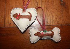 Dachshund Christmas Tree Ornament Set of 2 by MaxMinnieandMe, $16.00