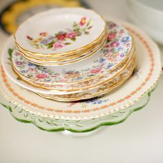 Love mismatched china! available at flea markets, thrift stores and Season's Best!!