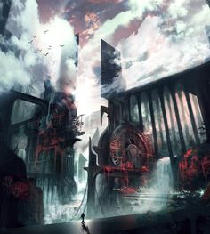 Waterworks Concept Art by George Lovesy Environment Concept Art, Environment Design, Sci Fi Fantasy, Fantasy World, Medieval Dragon, Scenery Pictures, Waterworks, Epic Art, Matte Painting
