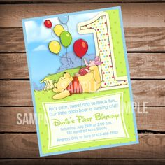 Hey, I found this really awesome Etsy listing at https://www.etsy.com/listing/196069453/winnie-the-pooh-1st-birthday-invitation
