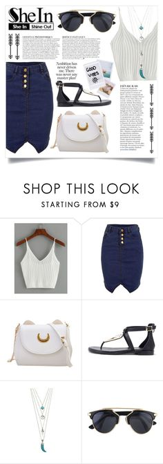"""SheIn: Ribbed knit crop top"" by im-a-fancy-unicorn ❤ liked on Polyvore featuring WithChic, Anja, Polaroid, Band of Outsiders, white, croptop, knittop and shein"