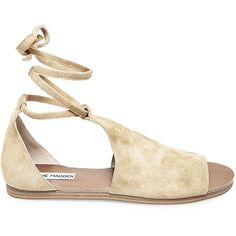 Steve Madden Women's Elaina Sandals ($80) ❤ liked on Polyvore featuring shoes, sandals, flats, natural suede, ankle tie sandals, flat shoes, ankle strap sandals, suede sandals and lace-up sandals