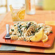 Pasta with Lemon Cream Sauce, Asparagus, and Peas | CookingLight.com