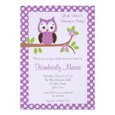 Baby Girl Owl Shower Invitation Printable Owl Baby Shower