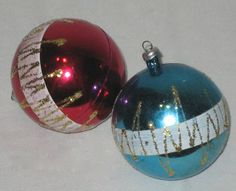 Vintage set of 2 Christmas ornaments by sweetalicelovesyou on Etsy