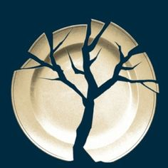 Love this poster design. It's creative to use the broken plate to form a tree shape. The negative space is working well in this one. //// I think this poster is very successful. the negative space is used to make a very simple and tasteful tree. Graphic Design Posters, Graphic Design Typography, Graphic Design Illustration, Graphic Design Inspiration, Poster Designs, Graphisches Design, Layout Design, Print Design, Design Graphique