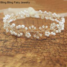 2016 Elegant Handmade Pearl Crystal Beaded Bridal Hair Vine Tiara Wedding Accessories, Free Shipping