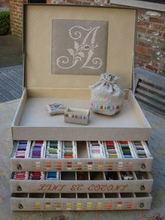 bobbin storage - thread - needlework - sewing - seamstress floss - ribbon - sewing room - storage - box - lovely - found pinned as boite à canettes 10 x 10 cardboard box covered with fabric.Idea for ear ring jewelry box.Discover recipes, home ideas Cardboard Furniture, Cardboard Crafts, Cardboard Boxes, Sewing Crafts, Sewing Projects, Craft Projects, Craft Organization, Craft Storage, Storage Ideas