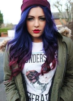 Blue and purple ombre hair. I want to do when i leave goodwill and find a place thats ok with this.