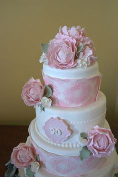 90th Birthday Cake, pink lace-wrapped with big roses. Beautiful! (La Bella Torta)