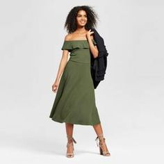 The Ribbed Bardot Dress - Who What Wear™ is made in a gorgeous look-at-me cut, from the ruffled off-the-shoulder top through the scallop-edge trim. Absolutely perfect for enjoying summer days in feminine comfort, the figure-flattering slim cut has a hint of stretch for easy movement.
