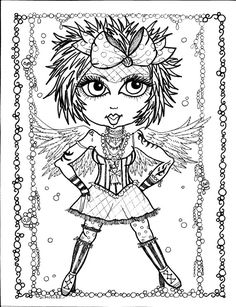 5 pages instant download 5 coloring pages gothic angels color book art digitaldigi stampgoth