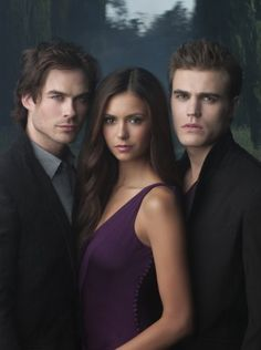 Ian Somerhalder as Damon, Paul Wesley as Stefan and Nina Dobrev as Elana in The Vampire Diaries