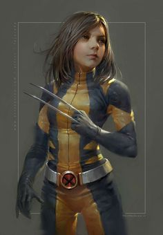 "Fan Art of Laura from ""Logan"" in the wolverine costume."