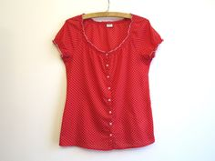 Red White Polka Dot Print Cotton Peasant Blouse by VintageOffer