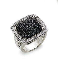 Windsor Jewelers - Charles Krypell Sterling Silver Black and White Sapphire Ring,  (http://www.windsor-jewelers.com/charles-krypell-sterling-silver-black-and-white-sapphire-ring/)