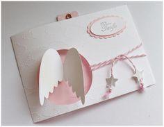 Zarte und wunderschöne Karte für Ihre Glückwünsche zur Taufe (auch zur Geburt oder als *Einladung* lieferbar)  Farben: Weiß, Rosa, Schiefergrau *auf Wunsch auch in weiteren Farben...