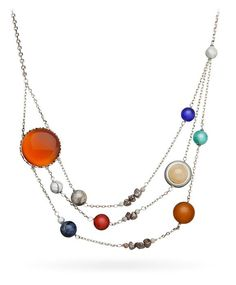 A Clever Solar System Necklace Made Up of Semi Precious Planets Moving Towards a Jade Sun
