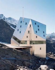 Bonus: The Monte Rosa Hütte (Monte Rosa Hut), a mountain hut near Zermatt, Switzerland, designed by Bearth & Deplazes Architekten in The hut is at an altitude of ft m). Zermatt, Minimalist Architecture, Architecture Design, Cabana, Crazy Houses, Weird Houses, Futuristic Home, Famous Buildings, Facades