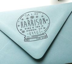 Custom Return Address Rubber Stamp Holiday by MarketHouseStudio
