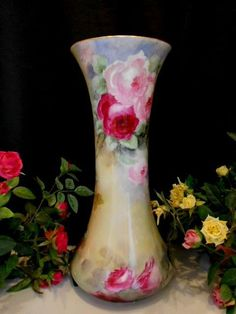 Awesome, Huge Limoges Vase;Swirling Roses; Outlined Gold