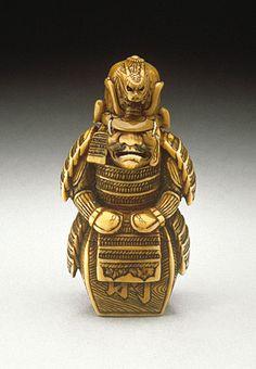 Samurai Armor, 19th century  Netsuke, Ivory with staining, sumi, thread, inlays,