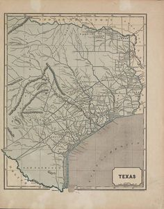 1844 Map of Southern Texas