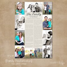Custom Printable LDS Family Proclamation Photo Collage- New