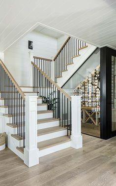 Custom Home Designs, Custom Homes, Coastal Farmhouse, Modern Farmhouse, Farmhouse Stairs, Beautiful Stairs, Under Stairs, Staircase Design, Architect Design