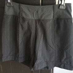 Lululemon Athletica pinstriped workout shorts Rare pinstriped short with pocket in back waistband.  No inside drawstring but stay up just fine! lululemon athletica Pants Track Pants & Joggers