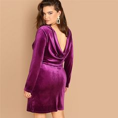 Shop Plus Drape Back Solid Velvet Dress online. SHEIN offers Plus Drape Back Solid Velvet Dress & more to fit your fashionable needs. Outfits Plus Size, Plus Size Dresses, Graduation Dresses, Homecoming Dresses, Shein Pull, Fall Collection, Velvet Drapes, Natural Models, Natural Clothing
