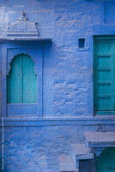 House Facade In Indian City Jodhpur Blue City, India / Alexander Grabchilev for Stocksy United Jodhpur, Cafe Art, Pet Gate, Glass Cabinet Doors, Blue City, Front Door Colors, Craftsman House Plans, Facade Design, Facade House