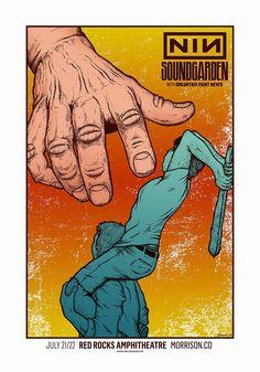 Nine Inch Nails & Soundgarden Jermaine Rogers Poster for Red Rocks