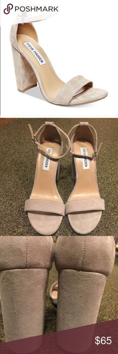 Steve Madden Carrson Suede Block Heel Sandals 7.5 Steve Madden Carrson Suede Block Heel Sandals Sz 7.5.  Like new and absolutely gorgeous!  There is one imperfection in the right heel as seen in very last photo. Very hard to notice and I almost missed it! Steve Madden Shoes Sandals
