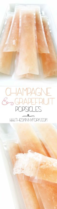 (Msg for 21+) Here is is y'all! The champagne recipe as promised - Champagne & Grapefruit Adult Popsicles! #Ad  Beat the heat for the rest of the summer with these popsicles. Loaded up with REAL grapefruit juice, champagne, and ruby red grapefruit vodka. TheSkinnyFork.com | Skinny &  Healthy Recipes