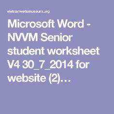 Microsoft Word - NVVM Senior student worksheet V4 30_7_2014 for website (2)… Senior Student, Microsoft Word, Worksheets, Website, History, Words, Modern, Historia, Trendy Tree