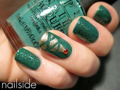 Christmas nails; use masking tape to tape off large triangle then little strips for the garland.