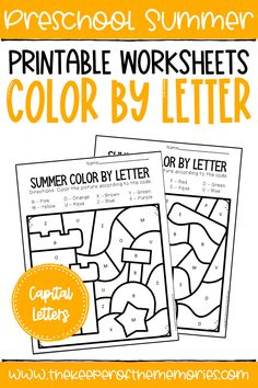 Color by Capital Letter Summer Preschool Worksheets are perfect for practicing letter identification and early reading skills with preschoolers. Get yours today! #preschoolworkheets #colorbyletter #preschoolsummer #colorbycode Sensory Activities Toddlers, Letter Activities, Kids Learning Activities, Learning Letters, Fun Learning, Summer Worksheets, Preschool Worksheets, Letter Identification, Early Reading
