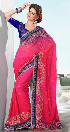 Fashion Women S Quartz Watches Code: 7999762566 Phulkari Saree, Georgette Sarees, Beautiful Saree, Beautiful Dresses, Beautiful Ladies, Indian Dresses For Kids, Velvet Saree, Indian Beauty Saree, Indian Sarees