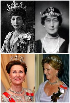 The Maltese Cross Tiara. Made for Q Alexandra of UK in 1910. When she died, it was passed to daughter, Q Maud. She had the diamond circlet made as a lighter version of the George IV State diadem, and takes it name from the crosses atop its bandeau base. 4 detachable diamond Maltese crosses between 4 Fleur-de-lis (removed by Maud) set on pattée diamond bandeau. Its was able to hold the Cullinan VI. Now mostly worn by Q Sonja who wears wears just bandeau w/o crosses, w/ 4th as brooch.