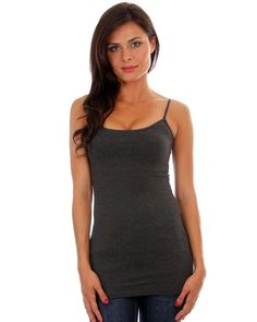Women's Charcoal Gray Camisole Tank Top Tunic Shirt with built in Bra Cotton