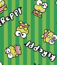 Sanrio Keroppi Stripe Flannel Fabric