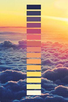 - Baskets and Boxes - Lits en palette : transition de couleur Beds in pallet: color transition. Sunset Color Palette, Sunset Colors, Colour Pallette, Colour Schemes, Orange Palette, Purple Color Palettes, Design Seeds, Colour Board, Color Swatches